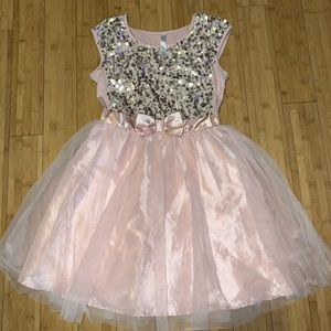 Girls party dress with silver sequins sz XL 14/16
